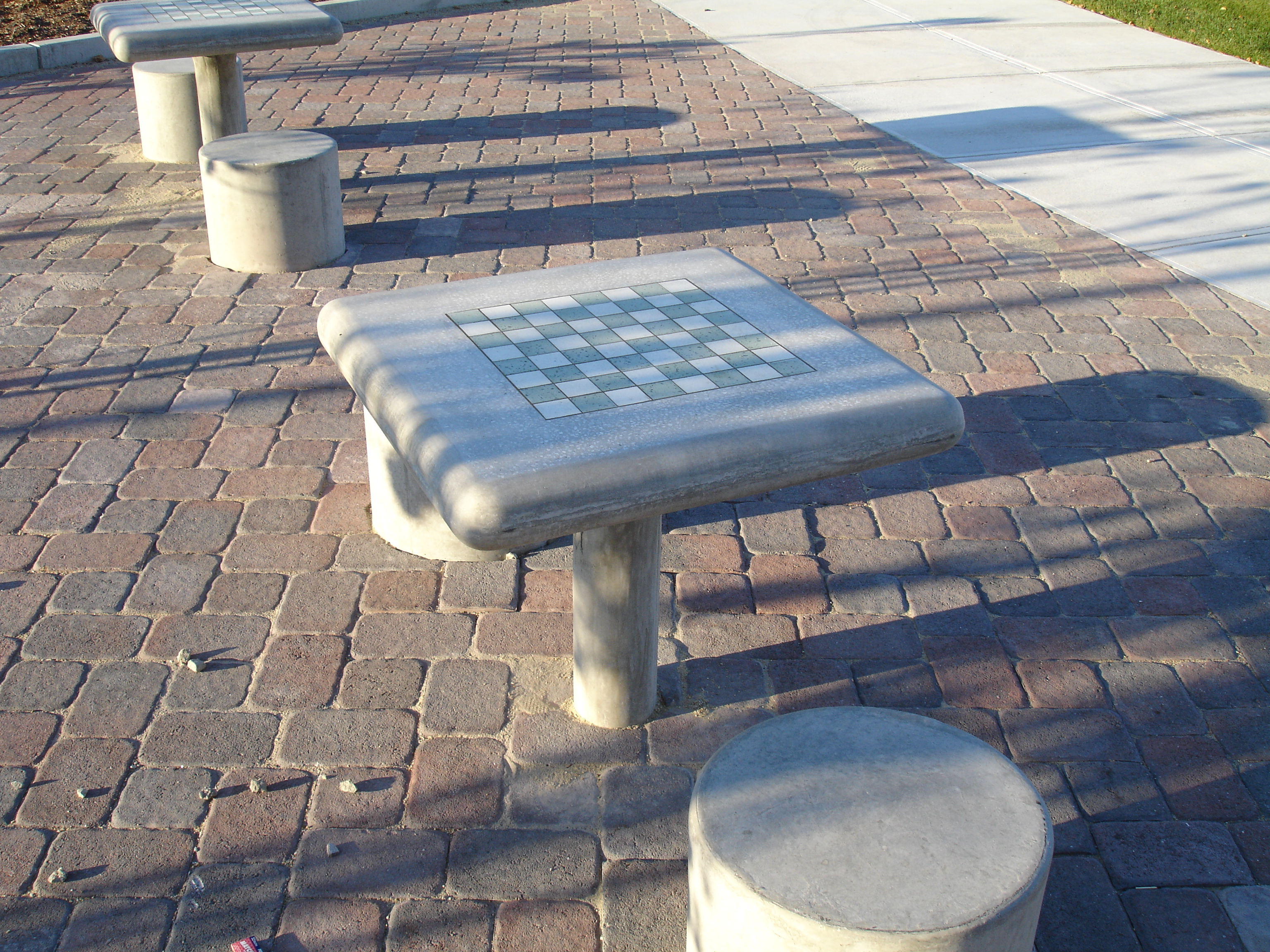 checkboard tables at Bay State Commons park